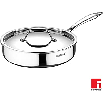 BERGNER - BG-6329 Argent Triply Stainless Steel Sautepan with Stainless Steel Lid, 22 cm, Induction Base, Silver