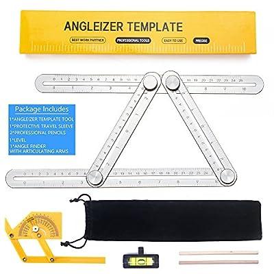 SUPERIORFE Angleizer Template Tool - Full Metal Multi Angle Measuring Tool-Ultimate Universal Aluminum Alloy Multi Functional Angularizer Ruler for Builders, Craftsmen, Brickworks, DIY work
