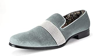AFTER MIDNIGHT Men's Velvet Smoking Slipper with Band of Stones! Bejeweled Smoker Shoe 6715