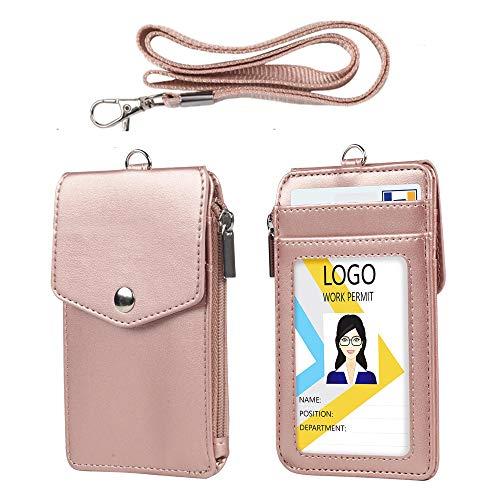 Teskyer Passhülle aus Leder mit Schlüsselband, 1 transparentem Passfenster , 3 Kartenfächern mit Druckknopfverschluss, Brieftaschenausweis mit Reißverschluss, Schulkarte, Kreditkarten, 1*Roségold