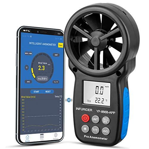 Anemómetro Digital Medidor INFURIDER YF-866B-APP, Medidor Inalámbrico de Anemómetro de Paleta Bluetooth, para Medir la Temperatura del Viento /Sensación Térmica, para Vela, Surf, Cometa, Pesca