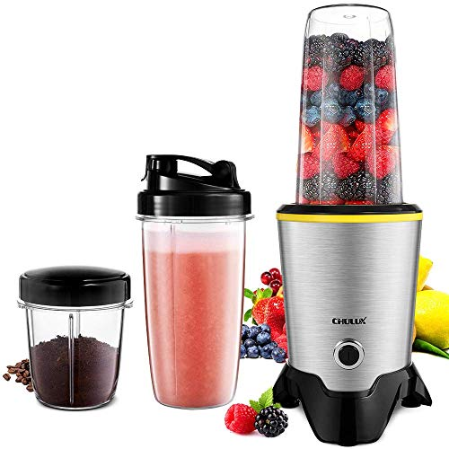 CHULUX Smoothie Bullet Blender Maker, 1000W High Speed Coffee Grinder with Blending and Grinding Blades, Tritan 35+15 OZ Travel Bottles for Shakes, Frozen Fruit, Baby Food,Spices,Low Noise (Renewed)