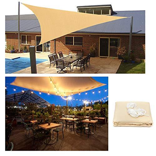 HOXMOMA Sonnensegel Dreieck Wasserdicht Sonnenschutz UV-Schutz Sun Segel mit LED-Leuchten, Beige Sun Shelter Windschutz Wetterschutz für Garten BalkonTerrasse und Camping,Beige,3.6x3.6x3.6m