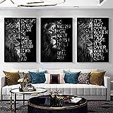 Cita motivacional Carteles artísticos Letras de león salvaje e impresiones en lienzo Pintura Cuadro decorativo de arte de pared para la decoración del hogar de la oficina 50X70cm Sin marco x3