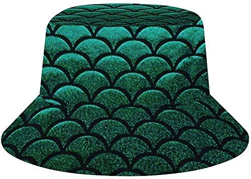 NA Bucket Sombreros para hombres al aire libre pescador sombreros escamas de sirena verde, Hombre, color Balanza de pescado de sirena verde pastel, tamaño talla única