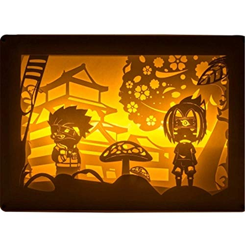 Tafellamp bedlampje leeslamp Uchiha Sasuke Uzumaki Light and Shadow Paper Carving Lamp Action Figure Cartoon Light X2745 Button Switch