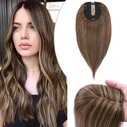 Hairro 18 Inch Clip in Human Hair Topper Silk Base for Women Highlight Meidum Brown Mix Dark Blonde Crown Top Clip on Toupee Extensions with 4 Clips Human Hair Top Filler Hairpiece Balayage #4/27