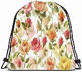 Drawstring Backpack String Bag 14x16 Colorful Leaves Peonies Flowers Watercolor 50 Keywords Original...