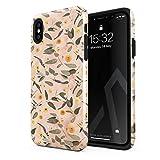 Burga - Carcasa para iPhone X/XS con diseño de flores de mármol de melocotón y hojas de eucalipto, diseño vintage para niñas, resistente a los golpes, doble capa y funda protectora de silicona