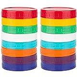 Fransande – Lote de 16 tapas de tarros de plástico – Tapones de macetas de colores 100 % compatibles con los tarros Mason grandes Ball Kerr (boca ancha)