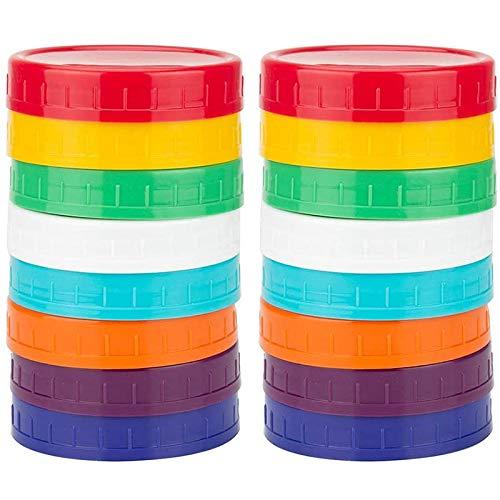 WOVELOT Paquete de 16 Tapas de PláStico para Tarros de AlbaaIl: Tapas DeMason Jar de Color 100% Compatibles con Mason Jar Anchos Ball Kerr (Boca Ancha)