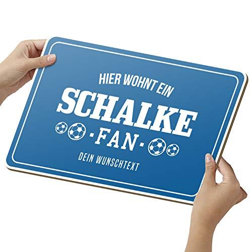 Fussball Schalke Schild aus Holz - personalisierbares Geschenk für Fans - opt. Beleuchtung - Wohnzimmer Deko - personalisierbar zum Hinstellen/Aufhängen - Schalke Geschenk - persönliches Geschenk