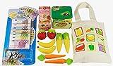 Elfenstall Kaufladen Zubehör Set|Einkaufstasche | Spielgeld | Lilifee Tee-Beutel | Knorr Metalldose|Lebensmittel für Spielküche|Obst und Gemüse aus Filz| Kaufmannsladen Einkaufsladen