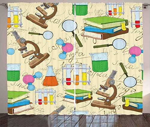 Ambesonne School Curtains, Science Education Lab Sketch Books Equation Loupe Microscope Molecule Flask Print, Living Room Bedroom Window Drapes 2 Panel Set, 108' X 63', Cream