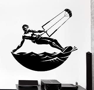 Pegatinas de pared deportes extremos kite surf vela deportes acuáticos calcomanías de vinilo decoración del hogar desmontable YY386 @ white_60x56cm