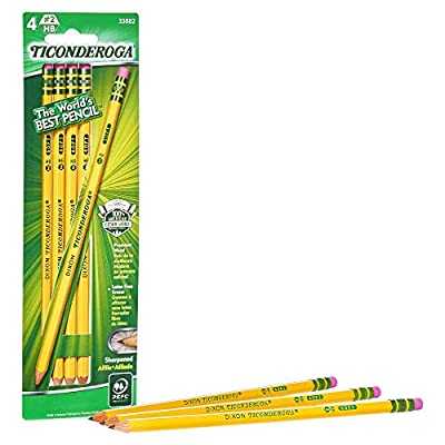 TICONDEROGA Pencils, Wood-Cased, Pre-Sharpened, Graphite #2 HB Soft, Yellow, 4-Pack (33882)