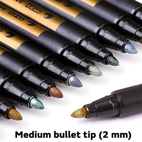 Dyvicl Metallic Markers Paint Marker Pens - Medium Point Metallic Markers for Rock Painting, Black Paper, Gift Card Making, Scrapbooking, Fabric, Metal, Ceramics, Wine Glass, Set of 10