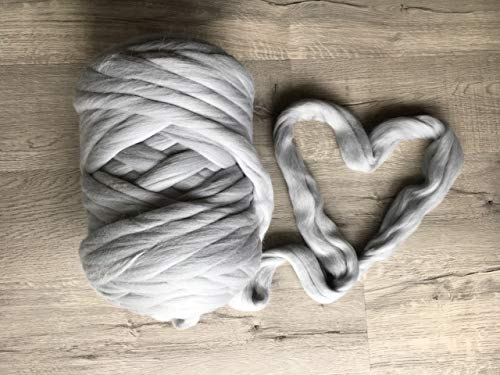 Merino wool yarn for chunky arm knitting blanket throw - fiber Super bulky soft giant knit DIY large crafts for handmade thick knitted blanket - huge yarn Row - Christmas gift idea
