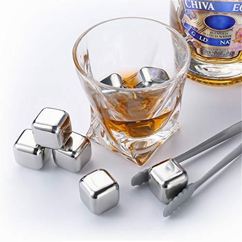 zanmini cubitos de hielo reutilizables de acero inoxidable(8 Pcs), Piedras de Whisky, Cubos de hielo con Pinza, para Enfriar Whisky, Vino, Cerveza sin dilución, Aprobado por FDA, Regalo Navidad