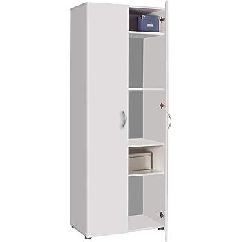 Composad - Armario de madera con 2 puertas y cajonera lacada en blanco, armario zapatero con 5 estantes: Amazon.es: Hogar