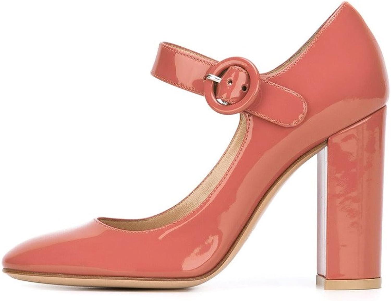 Eldof Women's High Heel Almond Toe Pumps Mary Jane 10CM Pumps Sandals Thick Heavey-heeled Pumps