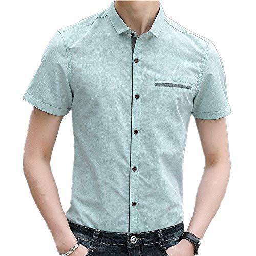 Nobrand Herren-Shirt, kurzärmlig, koreanisch, schmal Gr. L, lichtgrün