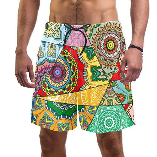 LORVIES Mannen Mandala Patroon Mozaïek Stijl Beach Board Shorts Sneldrogende Swim Trunk, L