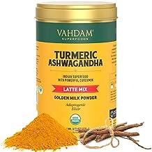 VAHDAM, Organic Golden Milk Powder - Turmeric Latte + Ashwagandha, 40 Cups (3.53 oz)   USDA Organic Golden Milk Tea Powder with Powerful CURCUMIN   Turmeric Powder + Ashwagandha   Turmeric Drink
