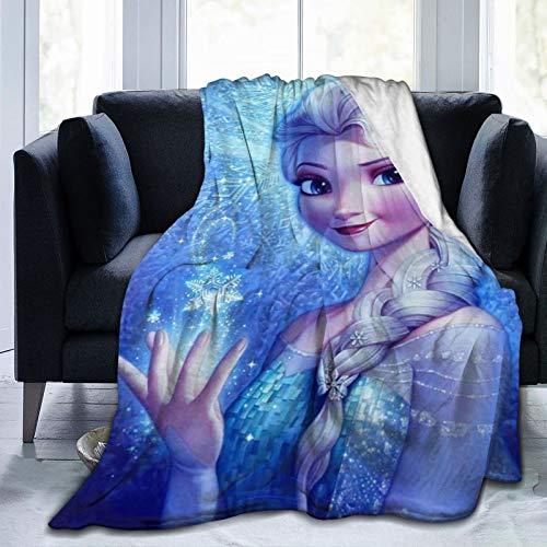 Manta de forro polar Elsa tamaño Queen – Mantas y mantas pelusas para todas las estaciones, suave y mullida manta de franela cálida para sofá, cama, Navidad
