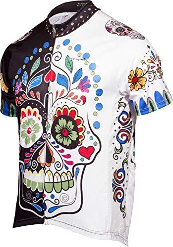 Sugar Skull Men's Road Cycling Jersey (X-Large) White/Black