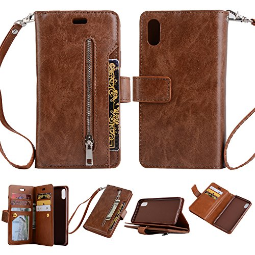 FOLICE iPhone X Case, Zipper Wallet Case [Magnetic Closure]& 9 Card Slots, PU Leather Kickstand Wallet Cover Durable Flip Case for Apple iPhone X (Brown)