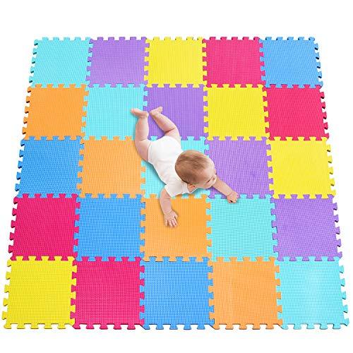 meiqicool 25 Piezas Alfombras Infantil Alfombras Puzzle de Goma EVA Alfombrilla de Juego para Niños y Bebés Suelo Protectora de Espuma Puzzles de Suelo Alfombrilla Multicolor