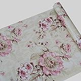 Papier autocollant décoratif rose, motif fleurs de pivoine, papier peint à décoller et appliquer sur des étagères, tiroirs, meubles, murs, décoration et loisirs créatifs, 45 x 200 cm