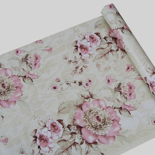 Self Adhesive Decorative Pink Peony Floral Contact Paper Shelf Liner Peel and Stick Removable Wallpaper for Shelves Drawer Furniture Wall Arts and Crafts Decoration 177x787 Inches