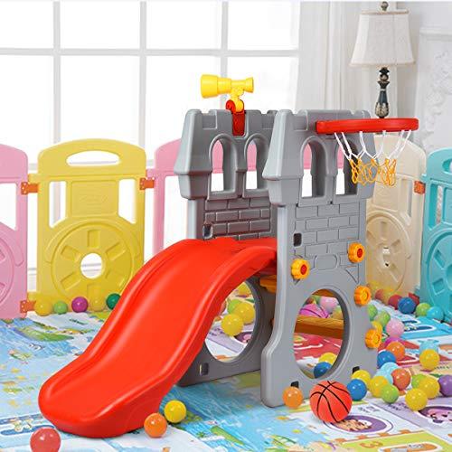 COSTWAY 4 in 1 Kinder Spielplatz mit Teleskopspielzeug, Kletterleiter & Rutsche & Basketballkorb & Fußballtor, Schloss Rutsche, Spielrutsche, Kinderrutsche für 3-8 Jahre - 3
