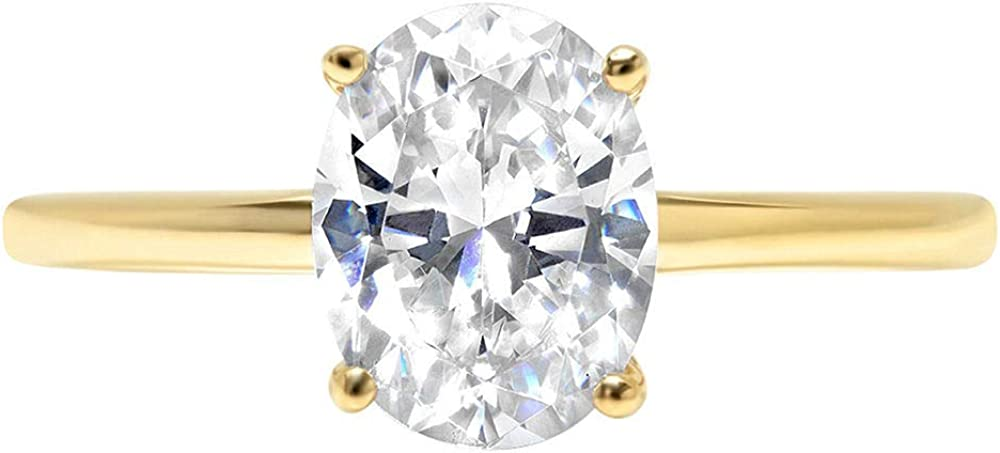 Clara Pucci 2.0 ct Brilliant Oval Cut Solitaire White Lab Created Sapphire Gem 4-Prong Engagement Wedding Bridal Promise Anniversary Ring Solid 18K Yellow Gold for Women