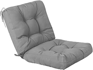 QILLOWAY Outdoor Seat/Back Chair Cushion Tufted Pillow, Spring/Summer Seasonal Replacement Cushions. (Grey)