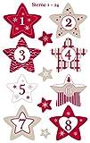 AVERY Zweckform Art. 52890 Adventskalender Zahlen 24 Sterne (Aufkleber Weihnachten, Papier, selbstklebend, Sternenzahlen, Adventskalender, Adventszahlen Nr. 1-24, Weihnachten, basteln, DIY)