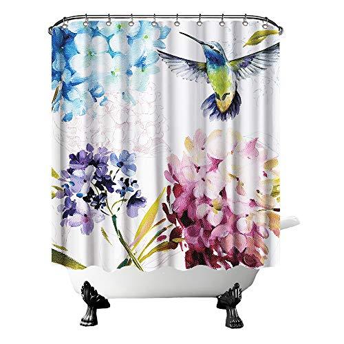 Hummingbird Shower Curtain Watercolor Bird on Hydrangea Flowers Bath Curtain Vintage Rustic Bathroom Decor Hooks Included 72'X72' Green Blue Purple