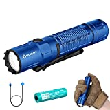 Olight M2R Pro Warrior 1800 Lumens Magnetic Rechargeable Dual Switches Tactical Flashlight with 21700 Battery and SKYBEN Battery Box (Blue)