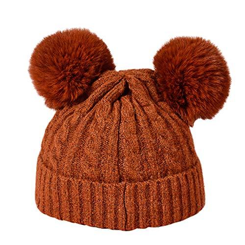 SuperSU Wintermütze Damen Cute Strickmütze Mädchen Warm Halten Pudelmütze mit Bommel Säumen Wollmütze Hairball Ski Beanie Hut Winter Fellbommel Klassisch klappbar