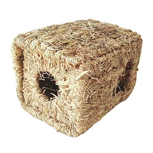 Dewdropy - Cama natural y nido de hierba, cama para mascotas, tejido de hierba y juguetes para coayes, chinchillas y conejos