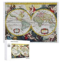 INOV 世界地図 18世紀初頭 ジグソーパズル 木製パズル 500ピース キッズ 学習 認知 玩具 大人 ブレインティー 知育 puzzle (38 x 52 cm)