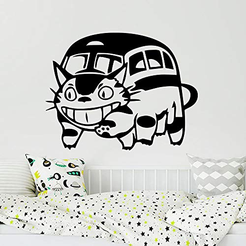 sanzangtang Kinderkamer kat kat bus muur sticker schattige holle out auto laptop huisdecoratie decal