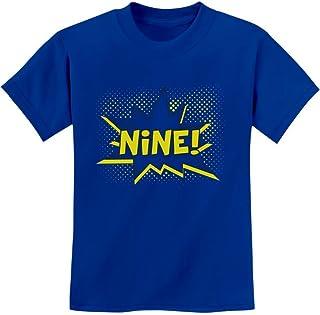 Tstars - Nine! Superhero 9th Birthday Gift for 9 Year Old Youth Kids T-Shirt