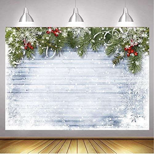 RUINI Winter Snowflake Wood Floor Christmas Pine Tree Backdrop Photography Christmas Photography Backdrop 7x5FT