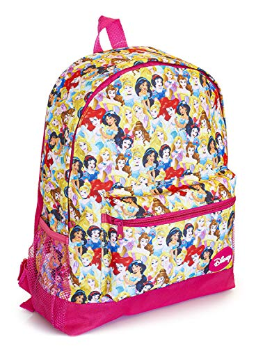 Disney Princess Large Backpack with Princesses Cinderella, Jasmine, Rapunzel, Ariel, Snow White and Belle, Kids Disney Bag for School Or Travel, Pink Girls Rucksack, Birthday Gift Idea Girls, Teens