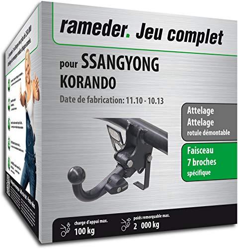 Rameder Pack, attelage rotule démontable + Faisceau 7 Broches Compatible avec SsangYong KORANDO (150148-09129-1-FR)