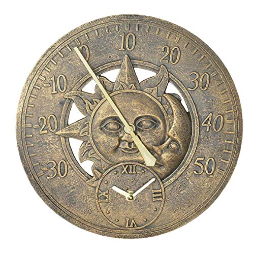 Stazione muro del giardino Termometro Orologio all\'aperto Vintage Clock Retro Decorative Hanging Orologio Sun Moon modello impermeabile
