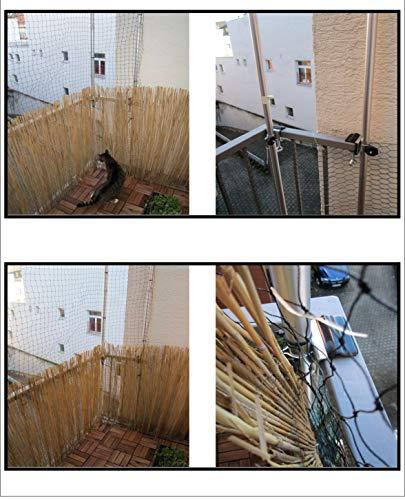 NEW - 2 X Holly kattennet - UNIVERSEEL roestvrij stalen houder Duo - zonder stokken - zonder net - balkonhouder - bevestiging voor stokken tot Ø 38 mm - MET - 2 - rubberen doppen (3,50 EUR) -